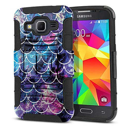 FINCIBO Case Compatible with Samsung Galaxy Core Prime G360 Prevail LTE, Dual Layer Hybrid Curve Rigid Armor Heavy Duty Protector Cover Stand Soft TPU For Galaxy Core Prime G360 - Mosaic Mermaid Scale