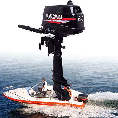 HANGKAI Outboard Motor,6HP 2 Stroke 4.4KW Outboard Motor Fishing Inflatable Boat Engine Water Cooling CDI System Durable Cast Aluminum Construction for Superior Corrosion Protection 1 Year WARRENTY