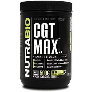 NutraBio CGT MAX (Unflavored) Creatine, Glutamine, and Taurine Powder