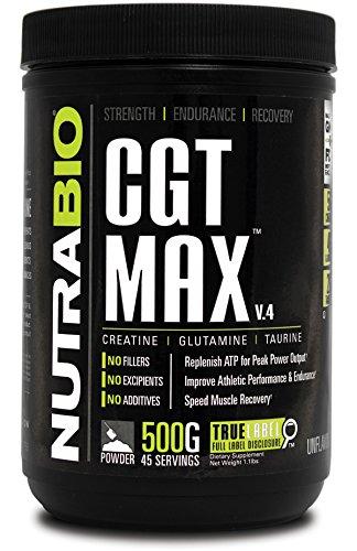 NutraBio CGT-MAX (Unflavored) - 500 grammes (créatine L-Glutamine, Taurine)