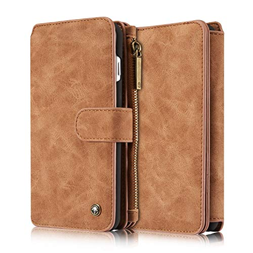 iPhone 8 Plus Case, CaseMe 2 in 1 Multi-Functional Leather Flip Folio Large Capacity Genuine Leather Wallet Card Slots Bag case Phone Cover for Apple iPhone 8 Plus/iPhone 7 Plus with Retail Package