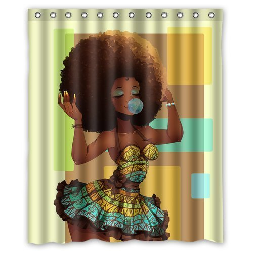 Mugod Custom Waterproof Bathroom African Woman Shower Curtain Polyester Fabric Shower Curtain Size 60 X 72