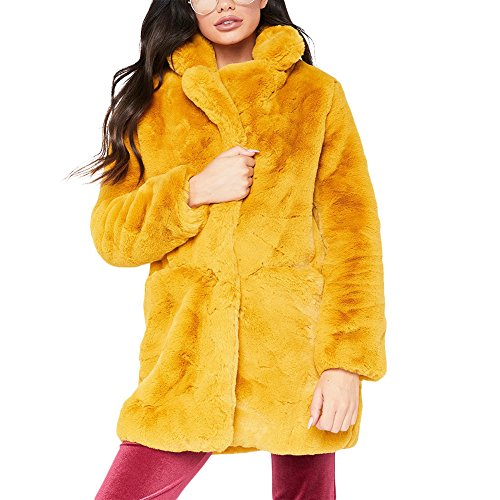 Joseph Costume Winter Faux Fur Coat For Women Long Sleeve Lapel Warm Outwear Cardigan Overcoat Jacket Outfit Yellow S
