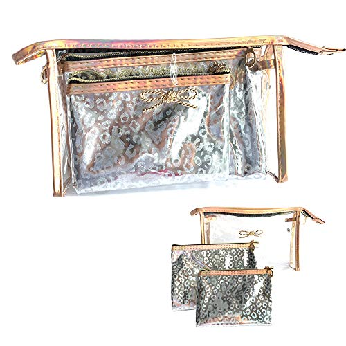 3-in-1 Portable Cosmetic Bag Travel Or Daily Transparent Cosmetic Bag For Women And Men (Leopard grain silver)