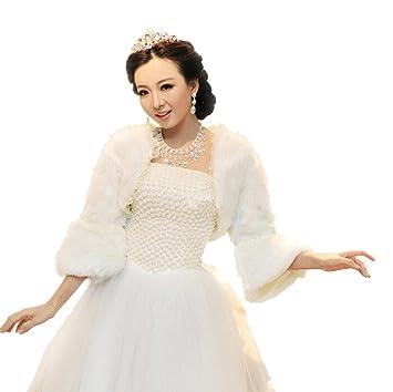 Vestido de piel sintética de Jungen cálido chal para invierno bodas novia accesorios blanco