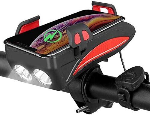 Etase 4 en 1 V/éLo Lumi/èRe Avant V/éLo /éTanche Porte-T/éL/éPhone de V/éLo avec 4000MA Banque dalimentation Mobile 5 Modes V/éLo Klaxon V/éLo Lampe de Poche Rouge