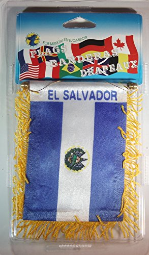 El Salvador Flag Rear View Mirror Mini Banner 4