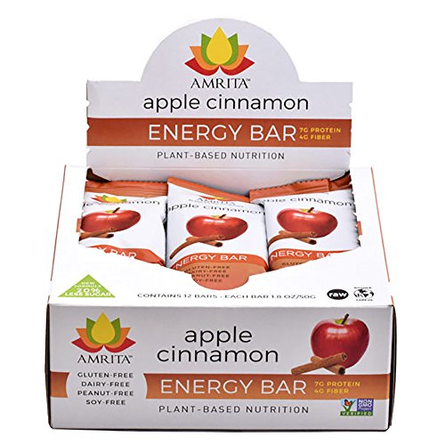Whole Food Protein Bars Paleo Food Approved Apple Cinnamon, Gluten-Free Soy-Free Dairy-Free, Non GMO Certified - Vegan, Raw and Kosher - Pack of 12 bars by Amrita