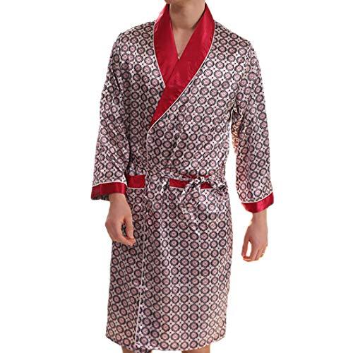 A Uomo Collo Notte Rosso Scialle V Pantaloncini Morbido Lungo Bagno Comfort Huicai Manica Leggero Camicia Tasche Accappatoio Sottile Lunga A1 Da TwOAO7