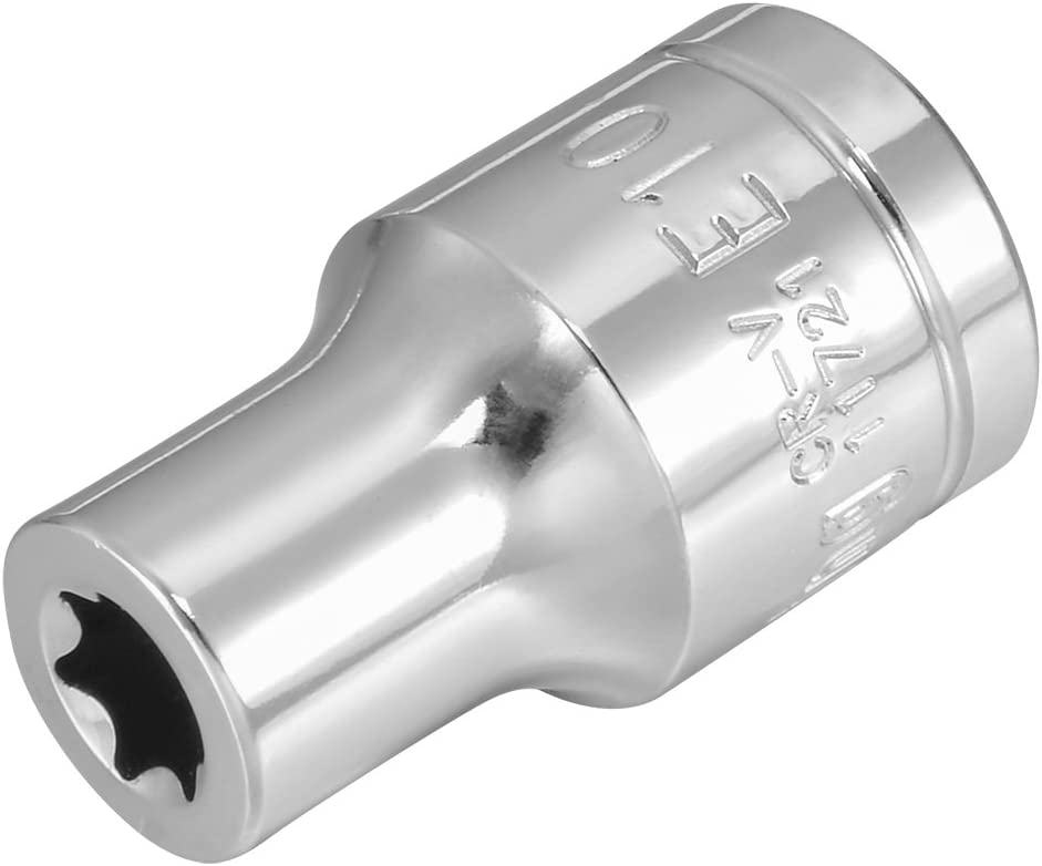 uxcell 1//2-inch Drive E10 External Torx Shallow Socket Cr-V Steel