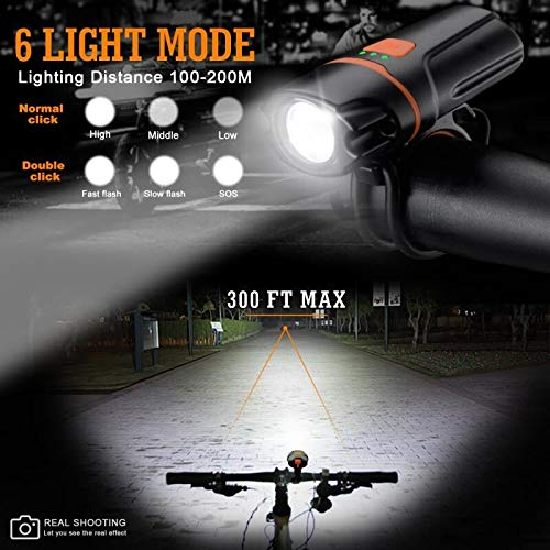 Wastou Bike Lights, Super Bright Bike Front Light 1200Lumen, IPX6 Waterproof 6 Modes Cycling Light Flashlight Torch with USB Rechargeable Tail Light(USB Cable Included) (Black)