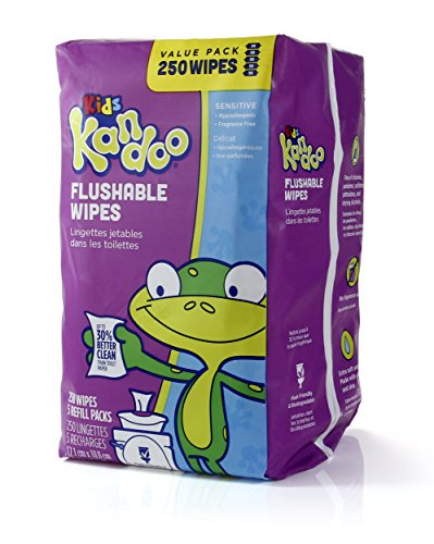 Flushable Baby Wipes for Kids, Sensitive by Kandoo, Hypoallergenic Potty Training Wet Cleansing Cloths Refills, Unscented, 250 Count per Pack, Pack of 4 by Kandoo (Image #5)
