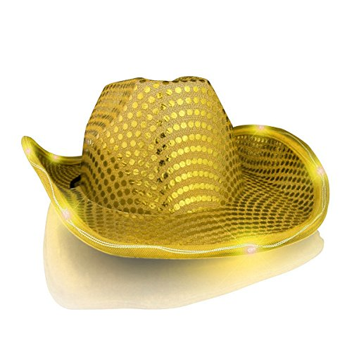 blinkee LED Flashing Cowboy Hat with Gold Sequins by