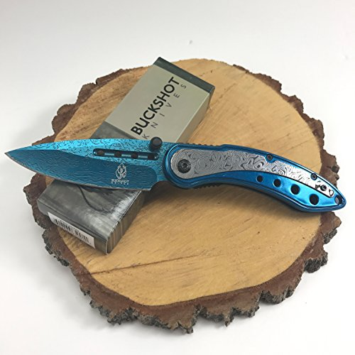 Buckshot Knives Thumb Open Spring Assisted Color Damascus Etched Stainless Steel Handle W/Damascus Etched Blade Pocket Knife (PBK207BL) Sword Damascus Blade