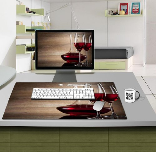 Food Wine Upscaled Vintage Plank Table Mats Customized Made to Order Support Ready 28 6/16 Inch (720mm) X 17 11/16 Inch (450mm) X 1/8 Inch (4mm) High Quality Eco Friendly Cloth with Neoprene Rubber MSD Deskmat Desktop Mousepad Laptop Mousepads Comfortable Computer Place Play Mat Cute Gaming Mouse pads