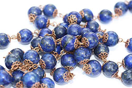 Large Genuine Lapis and Copper 10mm 5 Decade Natural Stone Bead Rosary Made in Oklahoma by Oklahoma Rosaries (Image #1)