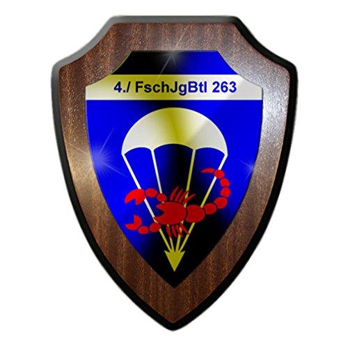 - 4 FschJgBtl 263 Parachute battalion Bundeswehr unit Company parachute hunters Badge badge Two breeches Airborne use Combat company - Escutcheon / Wall Sign