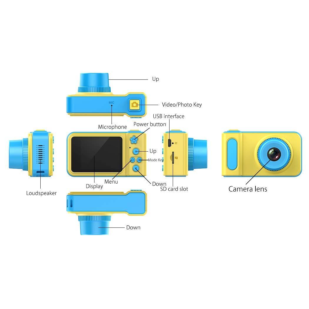 LOXROZ Kids Digital Camera Mini 2 Inch Screen Children's Digital Camera with Card Reader & 16G Micro SD Card (Blue) by LOXROZ (Image #2)