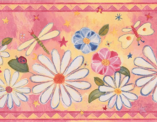 White Daisies Red Blue Flowers Dragonfly Butterfly Yellow Pink Wallpaper Border Retro Design, Roll 15' x 9