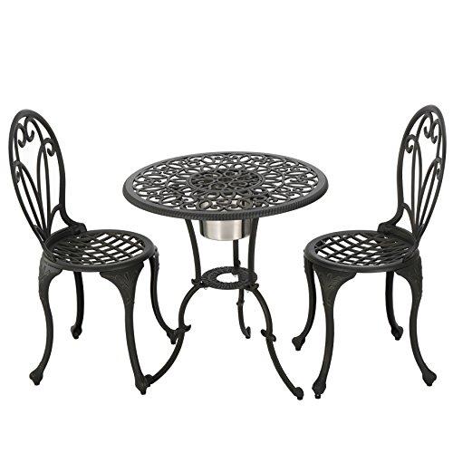 Black Iron Gold Patio Furniture 3pc Bistro Set With Ice Bucket (Fairmont Dining Set)