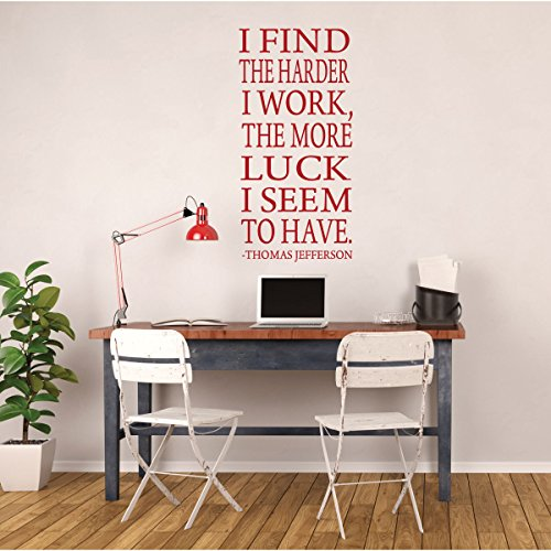 Thomas Jefferson - Wall Quote - I Find The Harder I Work, The More Luck I Seem To Have - Vinyl Wall Decal for Playroom, Study Area or Classroom.