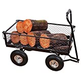 Yardeen Steel Wagon Cart Wheelbarrow Trailer Heavy Duty Outdoor Large Garden Trolley Load Capacity 400LB Color Black