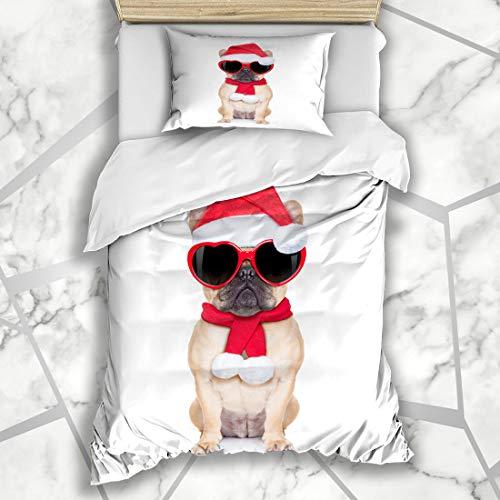 Ahawoso Duvet Cover Sets Twin 68X86 Red Pug Santa Claus Christmas Fawn Bulldog Dog Holidays Xmas Funny Advent Blank Boxer Microfiber Bedding with 1 Pillow Shams ()