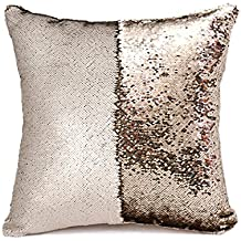 """SNUG STAR Two-color Decorative Pillow Case Square Paillette Throw Mermaid Sequins Cushion Covers 16 X 16"""" for Home Decor Party/Sofa/Bed (Matt champagne and Light Gold)"""