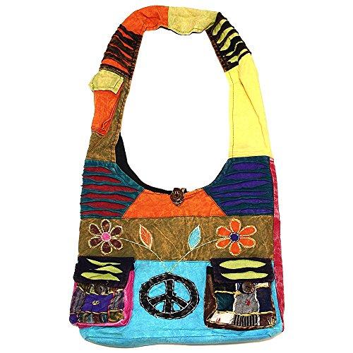 Bag Peace Hippie Sling Shoulder Flowers Crossbody Cotton and Sign 2058 Bohemian Variety Handmade Patterns xavTCn1qw
