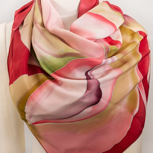 Beautiful Pure Silk Batik Square Pink Scarf / Shawl 'Blooming Magnolia' 35