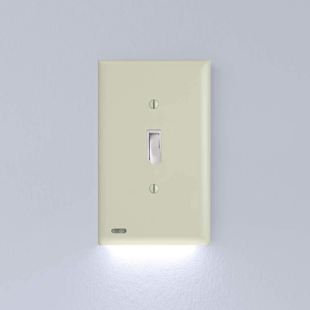 1 Pack Snappower Switchlight Led Night Light For Light Switches Light Switch Wall Plate With Built In Led Night Lights Bright Dim Off Options Automatically On Off Sensor Toggle Ivory Amazon Com