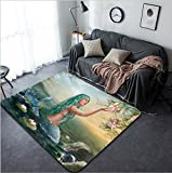Vanfan Design Home Decorative Mermaid in the Sunset with Green Hair & Lilies Modern Non-Slip Doormats Carpet for Living Dining Room Bedroom Hallway Office Easy Clean Footcloth