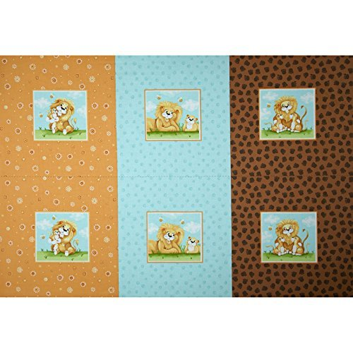 (Cat Fabric - Lyon the Lion Pillow Panel - 100% Cotton)