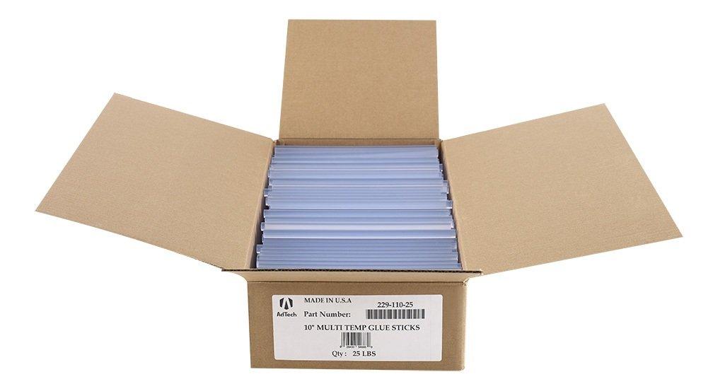 AdTech 22-110-25 Multi-Temp Full Size Hot Glue Sticks, 10-inch x .44-inch, Transparent Clear, 25 LB