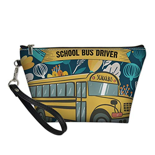 Showudesigns PU Leather Women Makeup Bag School Bus Design Cosmetic Case Toiletry Kit Travel Pouch ()