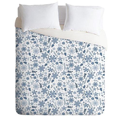 Deny Designs Jennifer Denty Genevieve Florals Blue Big Duvet Cover, (Genevieve Duvet Cover)