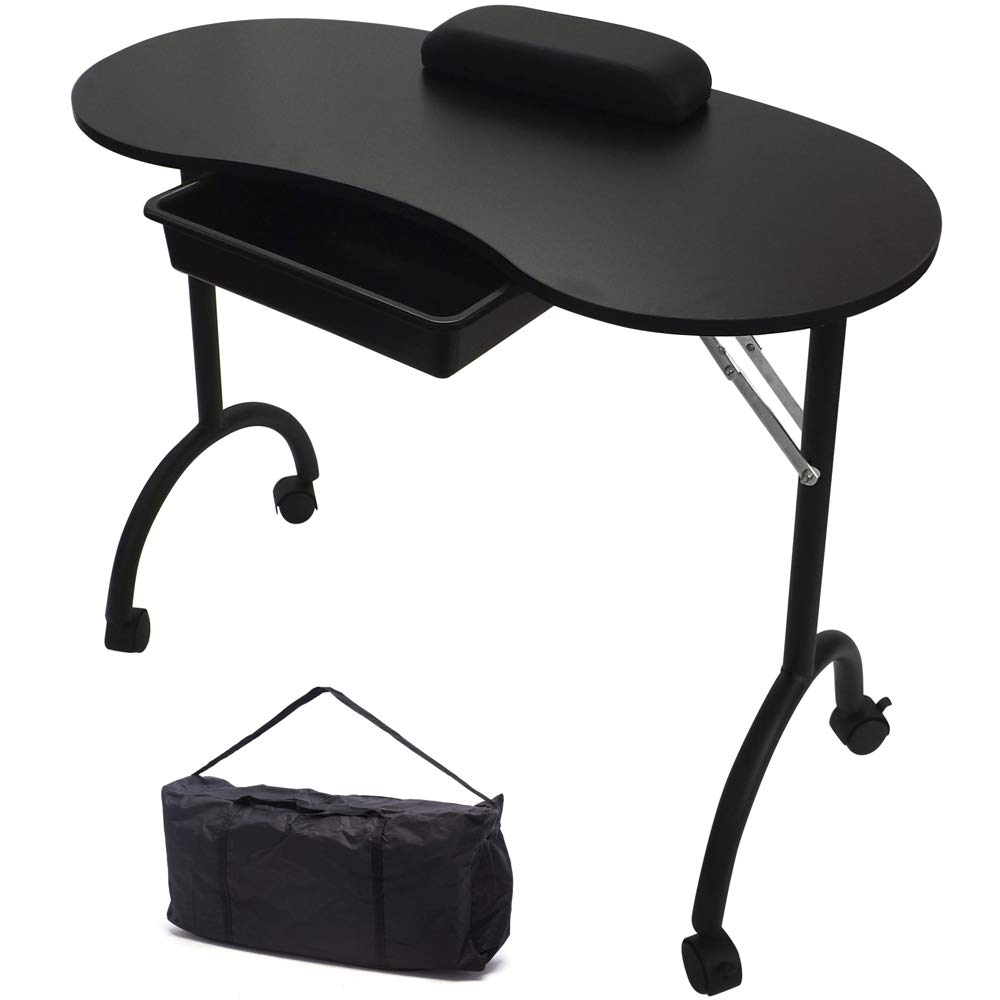 RayGar Black Portable Foldable Mobile Manicure Nail Art Beauty Salon Table Desk with Pull Out Drawer + Wrist Rest + Carry Bag