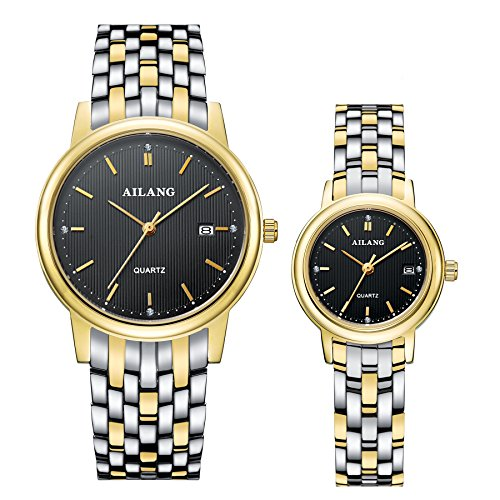 AILANG Stainless Steel Simple Quartz Wrist Watch for Couple Lovers,Set of 2,AL-8801G (Gold / Black) by Ailang