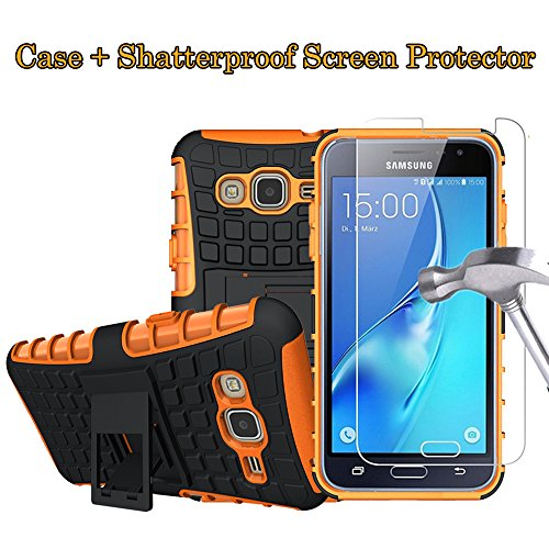 Boonix Case and Screen Protector for Samsung Galaxy J3 2016, J36, J36V, Express Prime, Amp Prime, Galaxy Sol, Sky, Guard Against Impacts and Drops [Shatterproof Screen Protector + Orange Case]