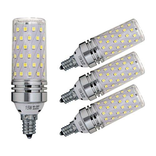 Sagel E12 LED Corn Bulbs 15W, 120W Incandescent Bulbs Equivalent, 6000K Cool White Candelabra E12 SES Bulbs, Non-Dimmable, 1500Lm, Small Edison Screw Corn Light Bulbs, 4-Pack (Edison Screw)