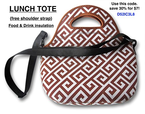 Neoprene Lunch Tote Picnic Bag. Food & Beverages Insulation. Reusable, Washable, Water-proof Foldable, Light....