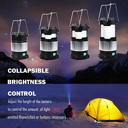 Alcoon 2 Packs Rechargeable LED Camping Lantern Light Lamp with 5600mAh Power Bank, Portable Collapsible Waterproof Outdoor Light with 18650 Li-ion Batteries for Camping Traveling Tent, Emergency by Alcoon (Image #1)