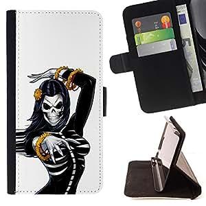 BullDog Case - FOR/Samsung Galaxy Note 4 IV / - / SEXY SKULL WOMAN BREAST SKELETON /- Monedero de cuero de la PU Llevar cubierta de la caja con el ID Credit Card Slots Flip funda de cuer