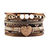 Jenia Women Leather Cuff Bracelet Rope Wrap Bracelets Charm Heart Cuff Bangle Handmade Jewelry for Girls, Mother, Wife, Ladies, Lover Gift