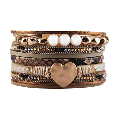 AZORA Leather Cuff Bracelet Multi Strands Beige Wrap Bangle with Pearl Boho Jewelry for Women Teen Girl Gift ()