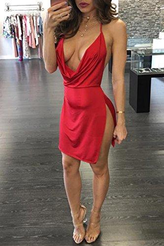 de Rouge t Robe Sexy Jarretelles Femmes C Robe Nu Court Moulante t Dos Party Fendues Col Fashion V Mini Robes Plage R7qSR