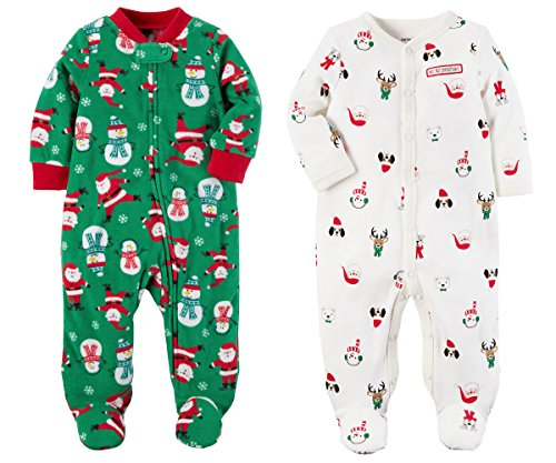 Carter's Girls or Boys Baby's First Christmas 2 Piece Santa Sleep and Play Set (6 Months, Green Fleece and White Cotton) (Christmas Sleeper First)