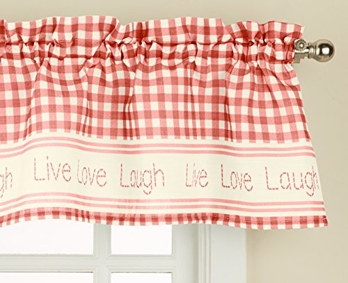 "LORRAINE HOME FASHIONS Gingham Stitch Window Curtain Valance, 50"" X 12"", Red"