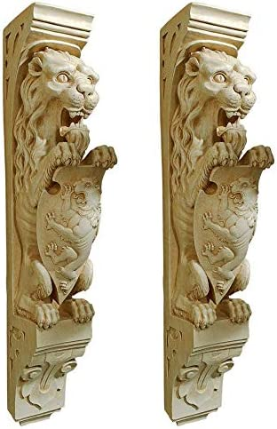 Design Toscano Manor Lion Wall Sculpture, Antique Stone