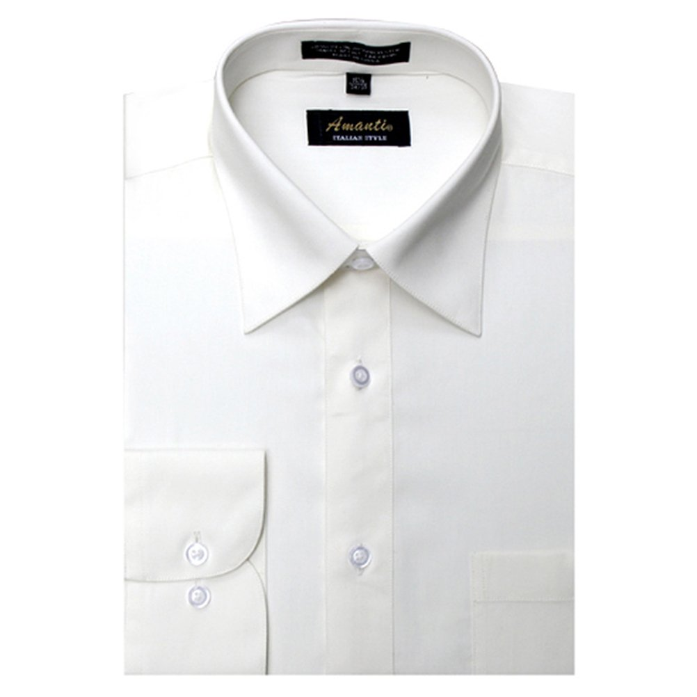 Amanti Off White Colored Mens Dress Shirt Classic Style Long Sleeve